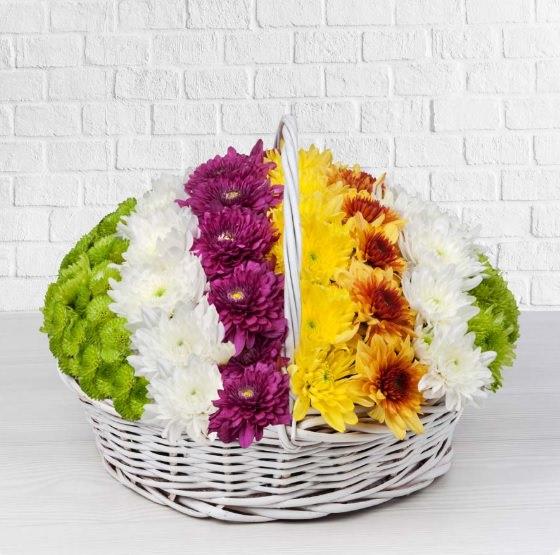خرید سبد گل داوودی