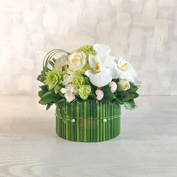 باکس گل سبز با نخل مرداب